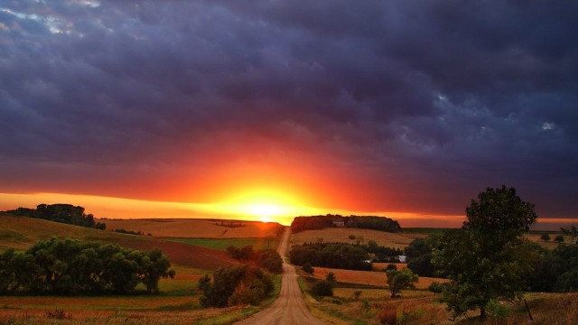 Amazing Sunrise At The End Of A Country Road HD Desktop Background